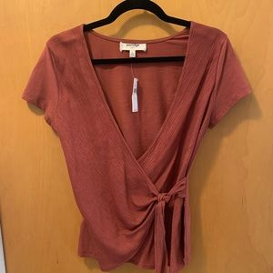 Anthropologie dusty rose faux wrap top